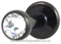 Black PVD titanium jewelled disk internally threaded labret