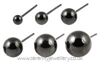 Black PVD steel ball stud earrings
