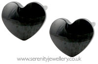 Blomdahl black titanium heart earrings