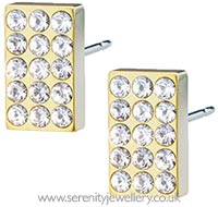 Blomdahl golden titanium oblong brilliance earrings