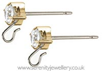 Blomdahl golden titanium studs with hooks