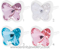 Blomdahl medical plastic small butterfly earrings