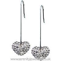 Blomdahl titanium heart crystal straight drop earrings