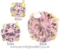 Caflon gold plated steel pink CZ earrings