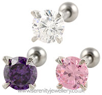 Prong-set round crystal stud