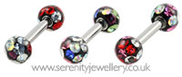 Surgical steel disco crystal ball barbell