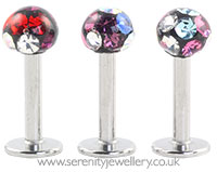 Surgical steel disco crystal ball labret