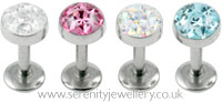 Surgical steel internally threaded multi gem disk labret