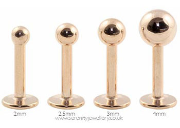 Hypoallergenic rose gold PVD steel labret studs with flat backs