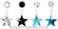 Blomdahl medical plastic star drop earrings