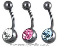 Black PVD titanium jewelled belly bar