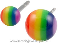 Rainbow ball surgical steel stud earrings