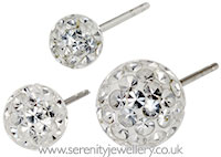 Surgical steel crystal ball stud earrings