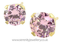 Studex Sensitive gold plated steel pink CZ earrings
