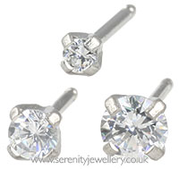 Studex Tiny Tips surgical steel Cubic Zirconia earrings