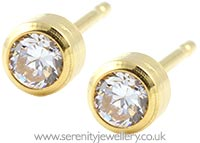 Studex Tiny Tips gold plated steel bezel CZ earrings