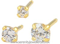 Studex Tiny Tips gold plated steel tiffany CZ earrings