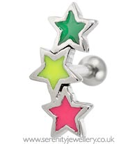 Three neon star stud