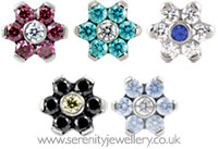 Industrial Strength titanium screw-in gem flower
