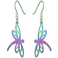 Ti2 titanium dragonfly drop earrings - large
