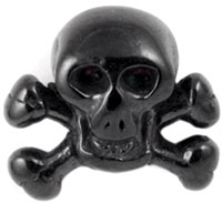Black PVD steel skull and crossbones labret