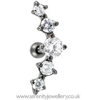 Black rhodium plated prong-set five crystal cartilage earring