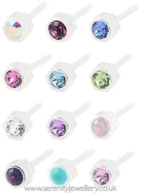 Blomdahl medical plastic crystal earrings
