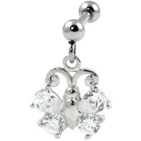 Crystal butterfly dangling cartilage earring
