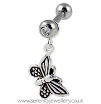 Butterfly dangling cartilage earring