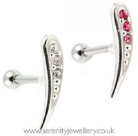 Three crystal curve cartilage earring