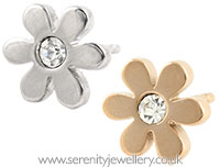 Surgical steel daisy stud earrings - crystal centre