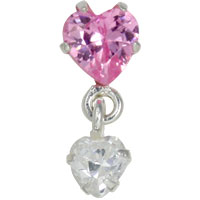 Crystal heart and dangling heart tragus earring