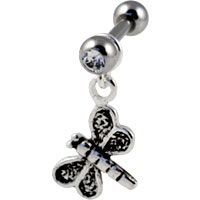 Dragonfly dangling cartilage earring