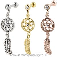 Dreamcatcher dangling cartilage earring