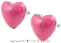 Surgical steel enamel heart stud earrings