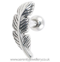 Feather cartilage earring - 1mm gauge