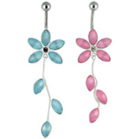 Cat's eye flower moving belly bar