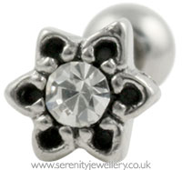 Flower stud with crystal centre