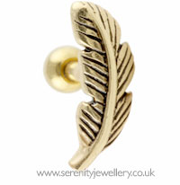 Gold plated feather stud
