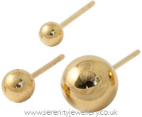 Gold PVD steel ball stud earrings