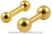 Gold PVD steel barbell - 1.6mm gauge