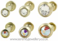 Gold PVD titanium jewelled disk internally threaded labret