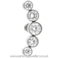 Invictus threadless titanium five gem cluster labret - 1.2mm gauge