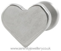 Invictus threadless titanium heart labret - 1.2mm gauge