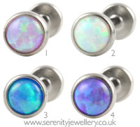 Invictus threadless titanium opal labret - 1.2mm gauge
