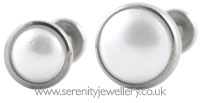 Invictus threadless titanium white pearl labret - 0.8mm gauge