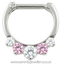 Industrial Strength titanium Odyssey five gem septum clicker - pink and white CZ