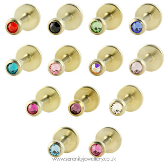 a9a718641 Hypoallergenic jewelled gold PVD titanium labret studs :: Serenity ...