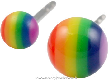 1e8a688cc Hypoallergenic rainbow ball surgical steel stud earrings :: Serenity ...