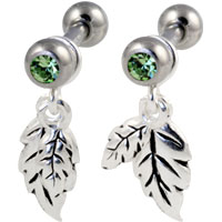 Two leaves dangling cartilage earring